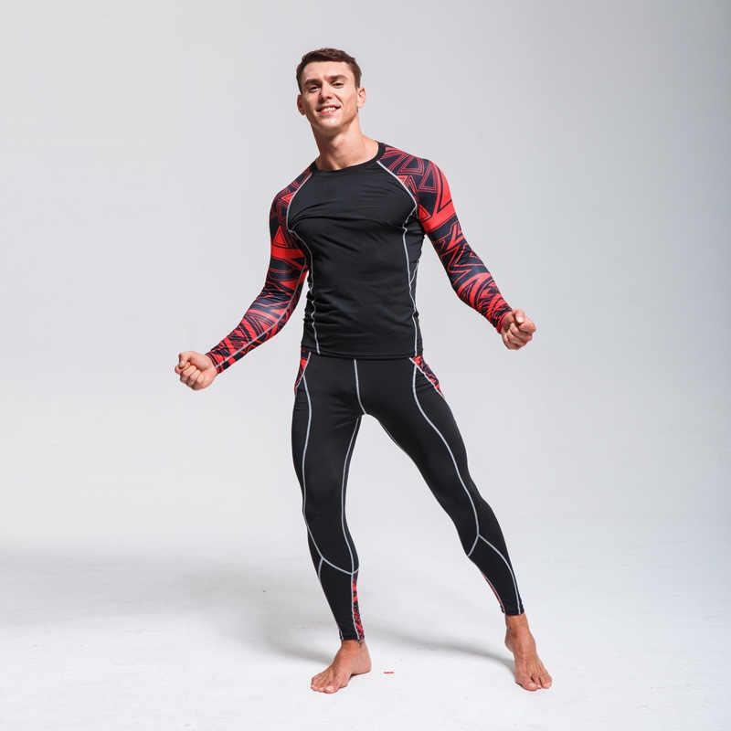 Men Compression Thermal Base Layer Long Pants Shirt Top Gym Running Underwear