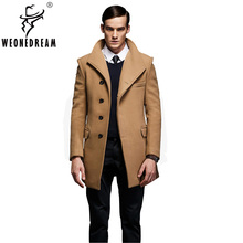 Mann Wolle Trenchcoat 2017 Winter Warm Woolen Lange Jacken Männlichen Slim Fit Feste Wolle Oberbekleidung Mantel European Fashion Marke Mann mantel(China)