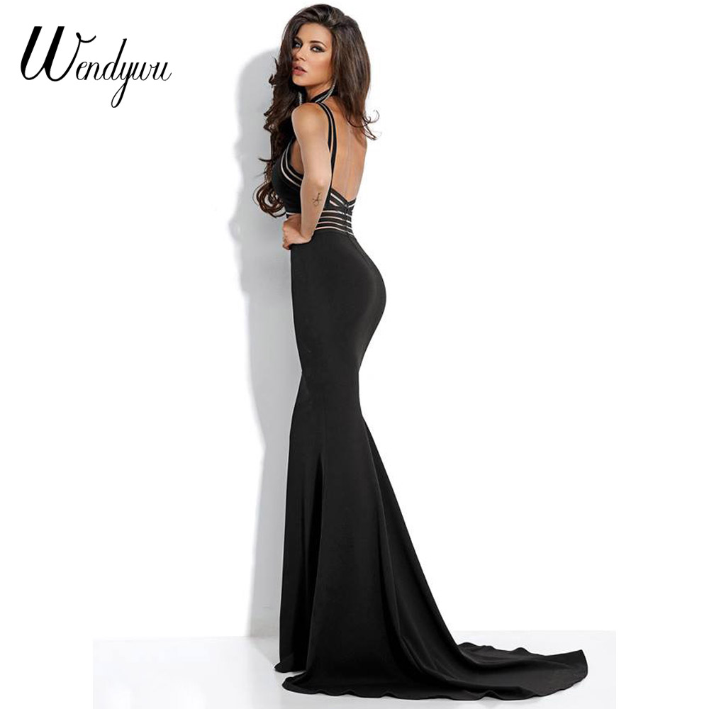 710207457f US $24.96 |Wendywu New Sexy Cleavage Spaghetti Strap Mermaid Evening Long  Dress Red Prom Party Gowns-in Dresses from Women's Clothing on ...
