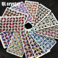 QL Crystal Tourmaline Glass 7x15mm Navette Pointback Fancy Stone for DIY garment bags shoes Jewelry accessory