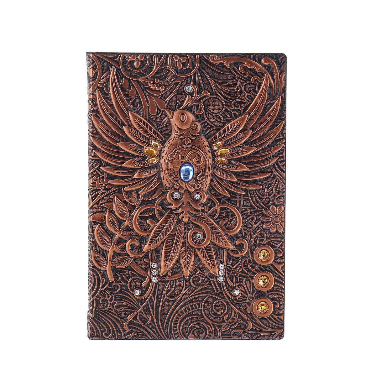 Caderno 3d impressão do vintage em relevo phoenix diário de viagem caderno diário couro presente livro bíblico artesanato
