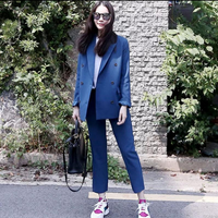 High Quality Double Breasted Suits Blazers Pant Suits Spring and Autumn Vintage Slim Casual Fashion Women Blazers and Jackets