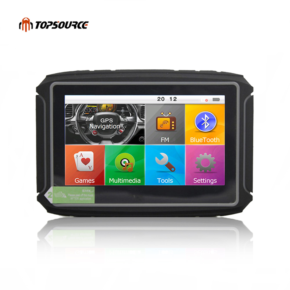 TOPSOURCE Car Motor Navigator GPS 256M RAM 8GB Flash 4.3 Inch Waterproof Motr  Motorcycle gps Navigation with Bluetooth FM Maps