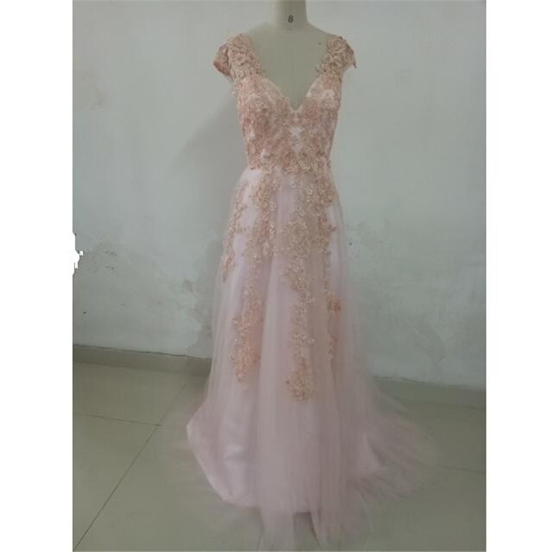 Champagne Color Wedding Dresses Vestidos De Noiva 2017: 2017 New Style Appliques A Line Pink White Champagne