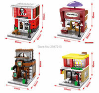 4 Set Hot Compatible Lepin City Mini Street View Building Blocks Mcdonald Famous Restaurant Coke Shop