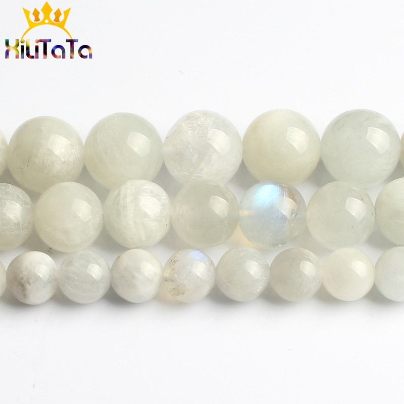Natural Moonstone Beads Smooth Round Loose Spacer Beads For Jewelry Making 15inches 6 8 10mm DIY Beads Bracelets Necklace Perles in Beads from Jewelry Accessories