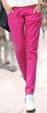 Новинка; Хлопковые Штаны-шаровары с эластичной резинкой на талии; джинсы; повседневные брюки; женские узкие брюки ярких цветов - Цвет: Розовый