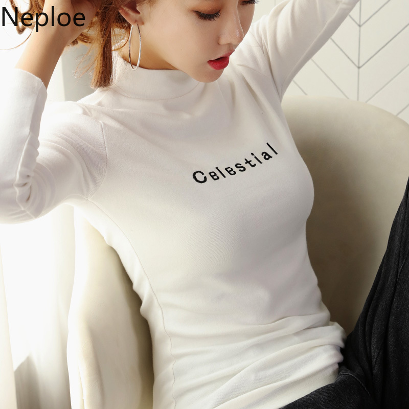 Neploe Turtleneck Sweater Printed Jumper Autumn Pullover Women Clothes Slim Letter Tight