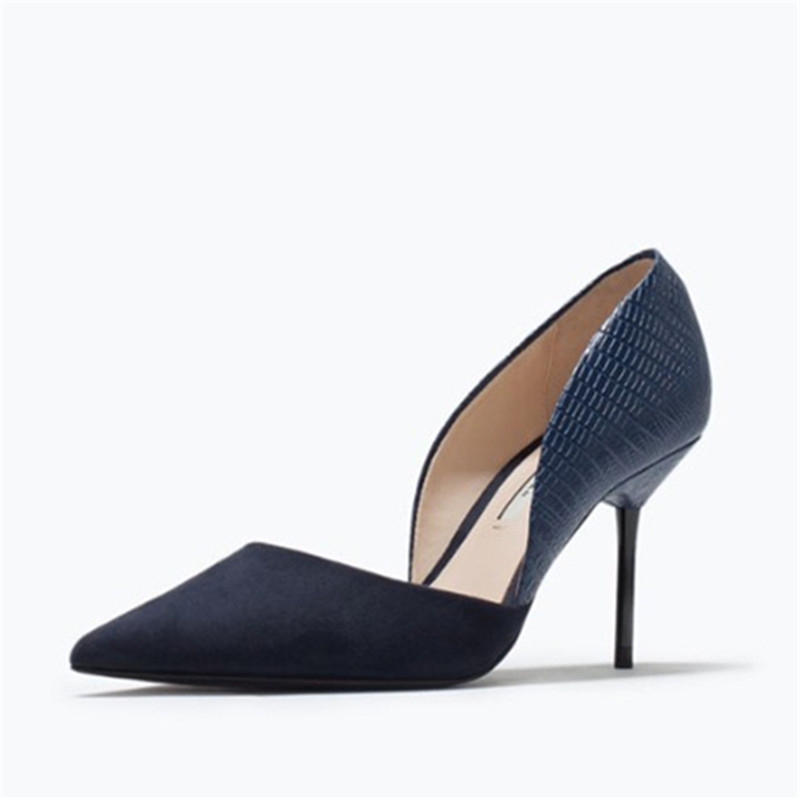 Aidocrystal suede black blue mix color pointed toe Thin High heels woman shoes summer Cut-Outs wedding Female simple Pump