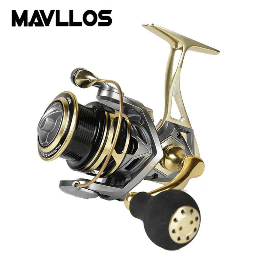 Mavllos Gold Metal Jigging Spinning Fishing Reel Max Drag 20kg Metal Body Handle Saltwater Lure Fishing Spinning Reels Surf Reel saltwater reel jigging 15w 60lbs balanced drag offshore inshore sea game fishing silky smooth super light gomexus