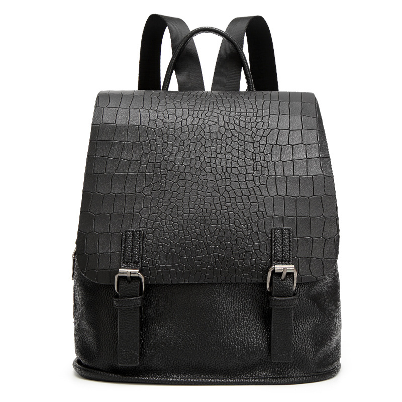 2018 New Leather Shoulder Bag Women Backpacks Crocodile Pattern Capacity Backpack Embossed School Bags For Girls Teenage Boys 2018 yuanyu 2016 new women crocodile bag women clutches leather bag female crocodile grain long hand bag