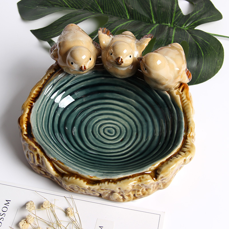 High Temperature Durability Artcraft Figurines Home Decoration House Room Ceramic Craft Ornaments With 3 Lovely birds