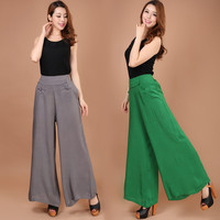 2015 New Summer Female Trousers Wide Leg Pants Long Waist Slim Pants Size Nine Female Cotton