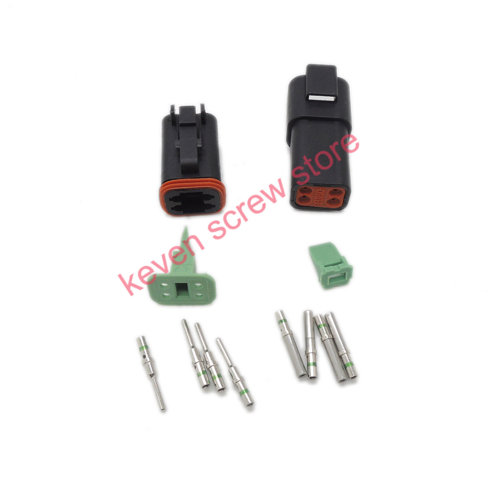 black 1 sets Kit Deutsch DT 4 Pin Waterproof Electrical Wire Connector plug Kit  DT06-4S DT04-4P,14GA black 50 sets 4 pin dj3041y 1 6 11 21 deutsch connectors dt04 4p dt06 4s automobile waterproof wire electrical connector plug