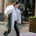 Naturaleza Real de piel de Mapache de lujo Grande Cuello de Piel Con Capucha de Las Mujeres Zorro Abrigo de Invierno Verde Del Ejército Forro Marca Chaqueta Larga Parka Outwear