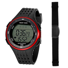 Top Deals Fitness Sport Smart Watch Pulse Heart Rate Monitor & Chest Strap Color:Red/Black