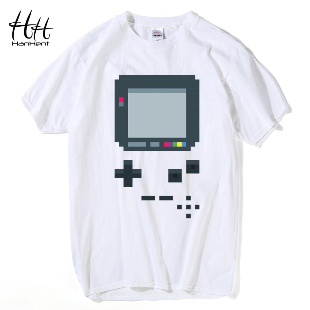 HanHent vecās spēļu konsoles T-krekli Vīriešu radošie kokvilnas vasaras Tee krekli 2017 Fashion Hip Hop Retro stila Geeks T krekli