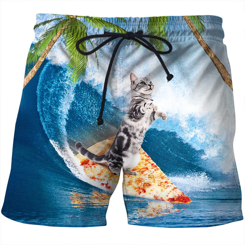 Cloudstyle Novelty Summer 3D   Board     Shorts   Men Pizza Cat 3D Print Vacation Hawaii Casual Drawstring Beach   Shorts   Breathable