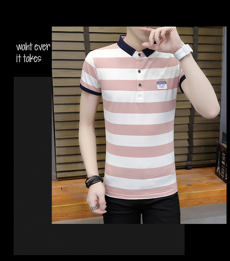 New summer high quality striped short sleeve polo shirt men brand clothing fashion Korean casual slim fit male camisa 9018Z 21