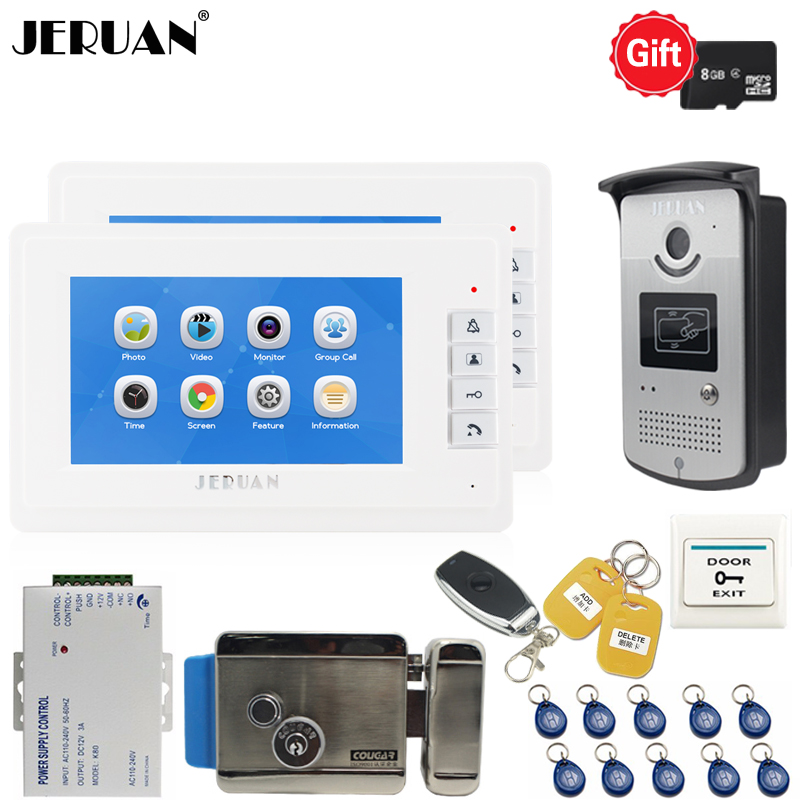 JERUAN 7`` LCD Video Door phone Doorbell Voice/Video Recording Intercom system kit RFID Access IR Camera + 8GB TF card + E-lock jeruan home 7 video door phone record intercom system kit rfid access ir camera 700tvl analog camera 8gb sd card e lock page 8