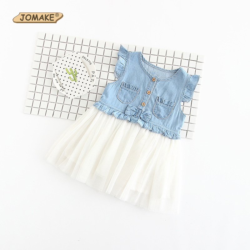 JOMAKE Girls Dress 2018 Summer Pleated Sleeveless Patchwork Kids Denim Princess Dress Bow Baby Girl Clothes Children Clothing