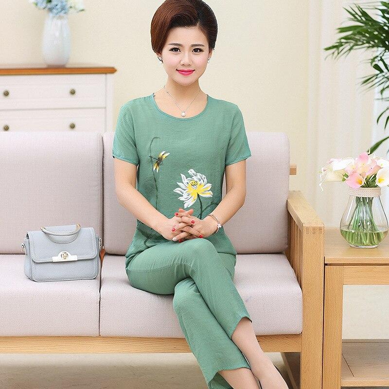 Plus Size XL-4XL Womens Nightwear 2pc Tops Pants Sleep   Pajamas     Sets   Sleepwear Spring Autumn Cotton Nightgown Robe Clothes