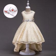 3680f8679ffee42 Элегантное кружевное Assymetrique платье принцессы для девочек свадебные Вечеринка  платье Детская Красота Нарядные платья(China