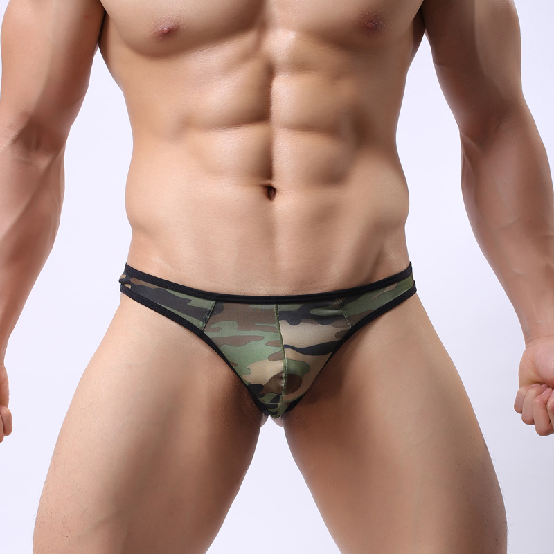 Fashion High Quality Mens Sexy Pouch Underwear Bikini Sexy Sheer Mens Thongs Sexy Camouflage Gay Underwear G-strings Man Briefs