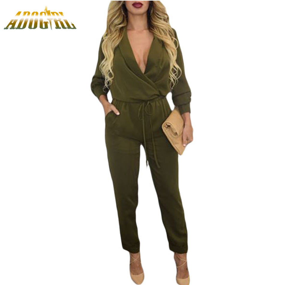 2017 Casual Style Ladies Jumpsuits 2017 Autumn Sexy Army Green Long Sleeve For Womens Jumpsuits And Rompers Long Pants Overall