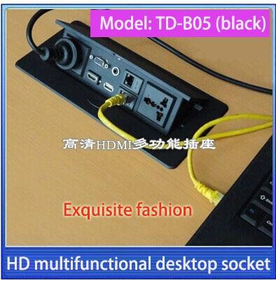 Tabletop socket hidden VGA 3 5 audio HD HDMI USB network RJ45 Information outlet box High