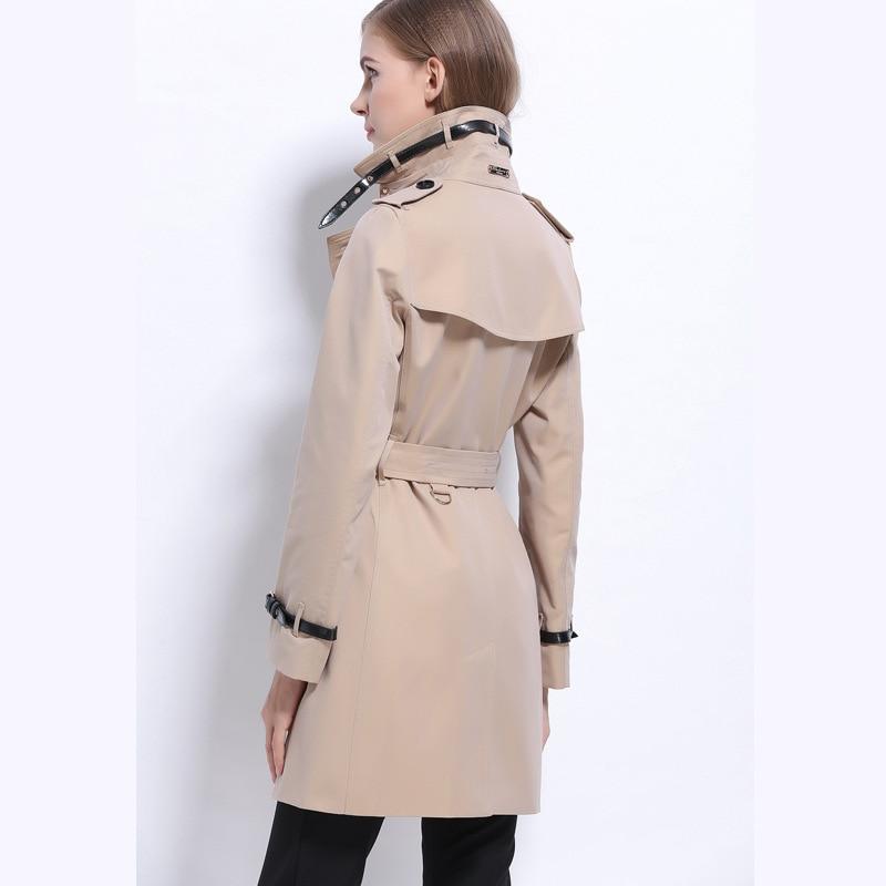 Nouvelle Femme Europe Turn Double Automne Affaires Breasted Trench down Kaki Classique Amérique rouge coat Vêtements Collar Imperméable 2018 wCg54xn0qq