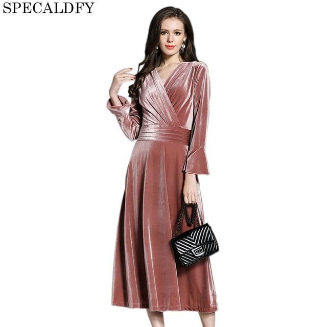 d4958262f 2018 otoño invierno rosa azul real Vestido de terciopelo mujeres cuello en V  Vintage Sexy vestidos