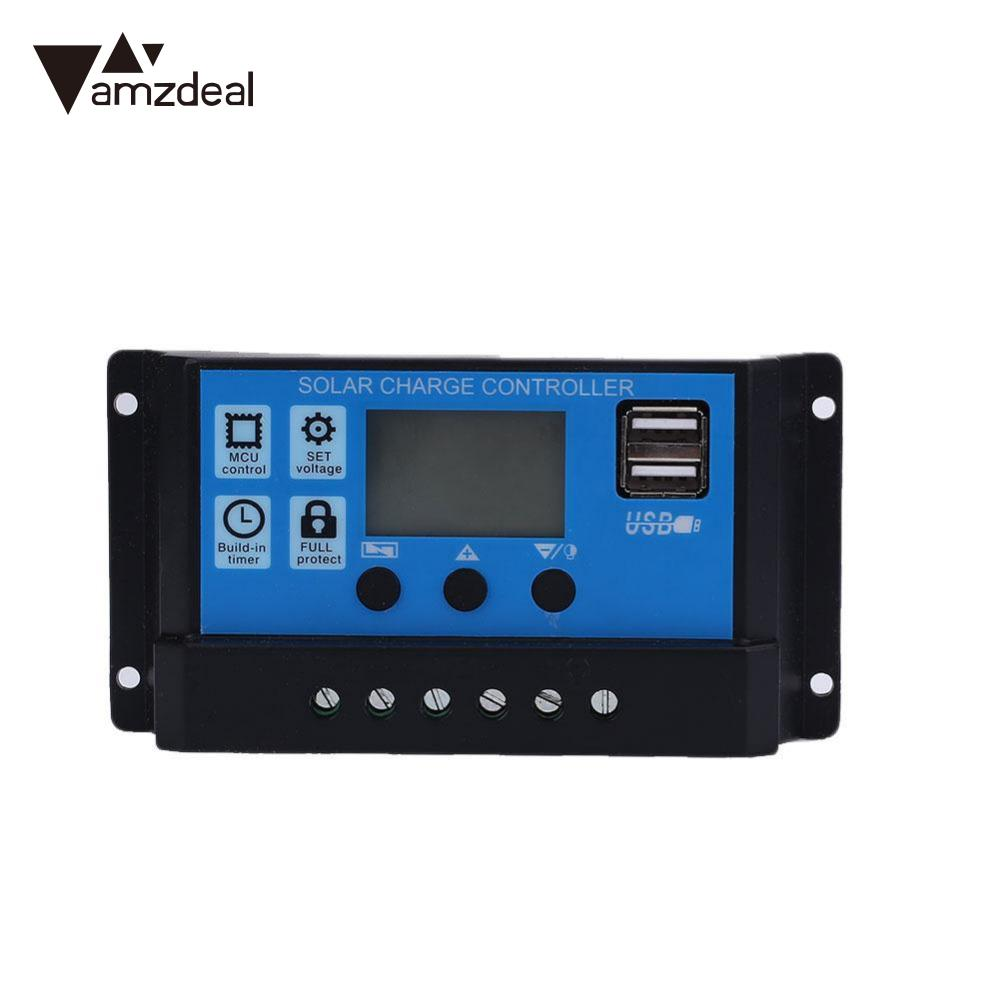 amzdeal 30A/20A/10A USB Solar Power Panel System Battery Regulator Charge Charging Intelligent Controller 12/24V Powerbank