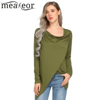 Meaneor Women Cowl Neck Long Sleeve Faux Wrap Asymmetric Hem Casual Black Shirts Tops 2018 Spring