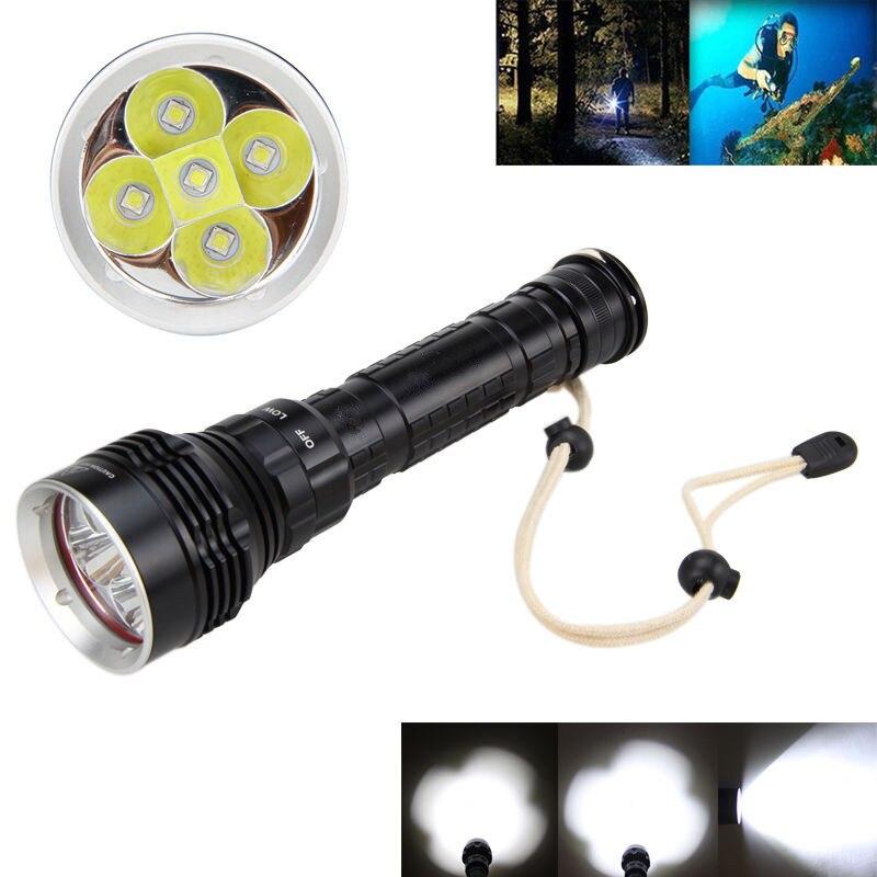 все цены на  1000lm 5x XM-L L2 LED Underwater 100M Scuba Diving Flashlight Torch 2*18650 3 Modes  онлайн