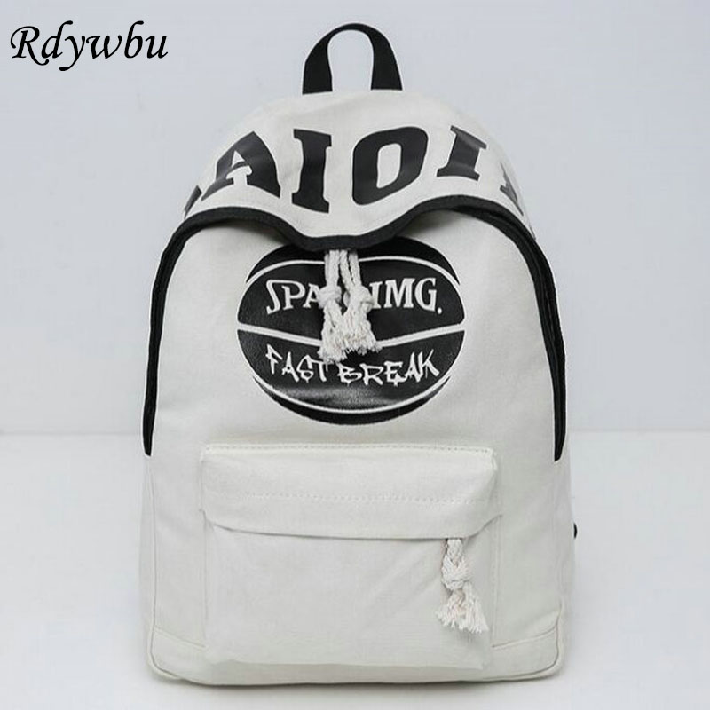 Rdywbu 2017 Men Canvas Letter Ball Print Leisure School Backpacks For Teenage Girls Fashion Laptop Bagpack Female Schoolbag H130