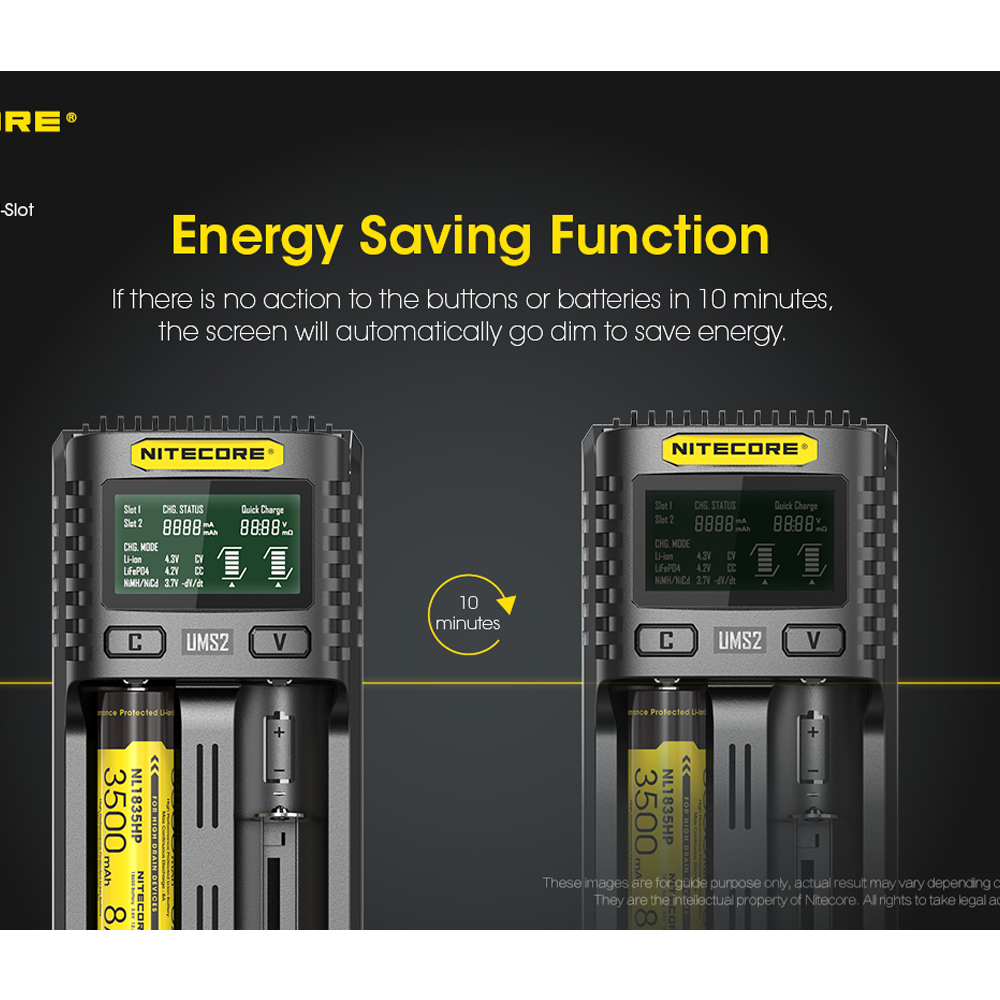 NITECORE UMS2 UMS4 Intelligent Battery Charger USB Output 3A for LiFePO4 Lithium Ion Ni-MH NiCd 18650 10350 10440 10500