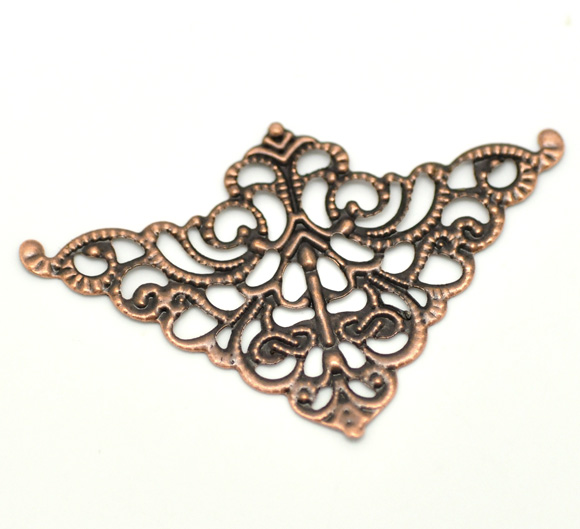 DoreenBeads Vintage Alloy Embellishments Findings Triangle Antique Copper Flower Hollow DIY Jewelry 5cm(2