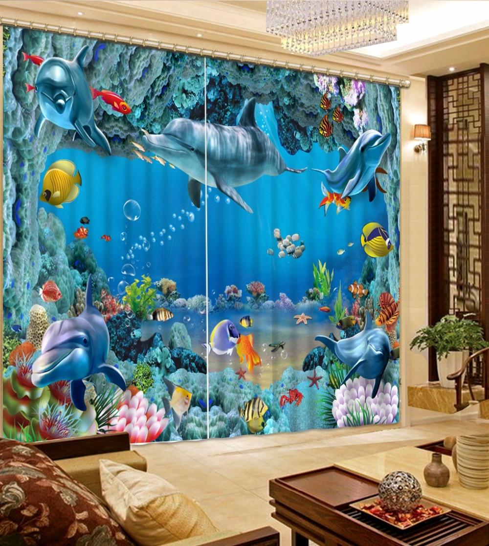 Rideaux occultants monde sous-marin dauphins 3D rideaux moderne décor à la maison rideaux pour cuisine