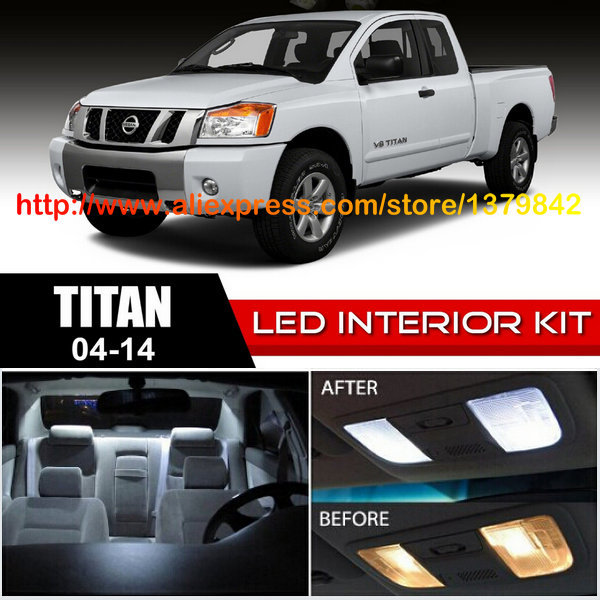 Free Shipping 16Pcs/Lot car-styling 12v Xenon White/Blue Package Kit LED Interior Lights For 04-14 Nissan Titan