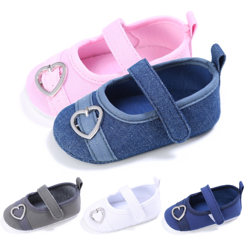2018 New Canvas Baby Moccasins Shoes Heart-Shape Button Buckle Baby Girls Shoes Newborn First Walkers Infant Shoes