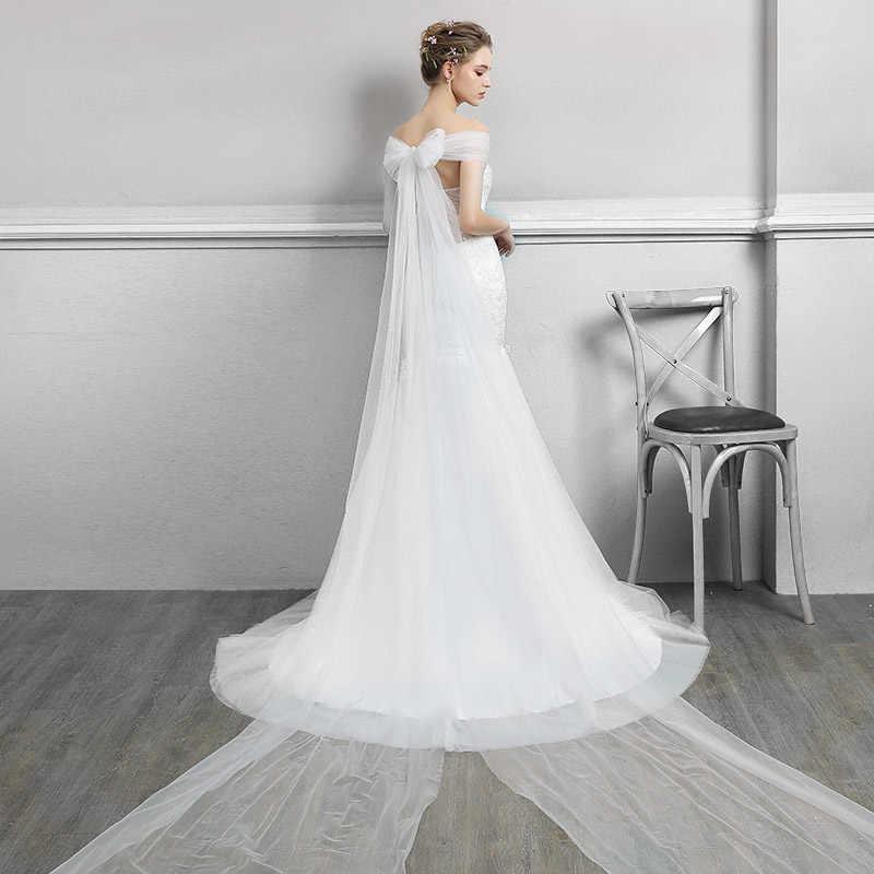 חתונת שמלת הגעה לניו 2017 את כלה אלגנטית הארוך Sleevev קשת סקסי חצוצרת צווארון V רקמת יוקרה קלאסית משפט רכבת