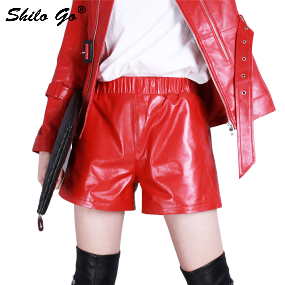 Leather Shorts Womens Summer Fashion Sheepskin Genuine Leather Shorts Stretch High Waist Concise Casual Red Wide Leg Shorts