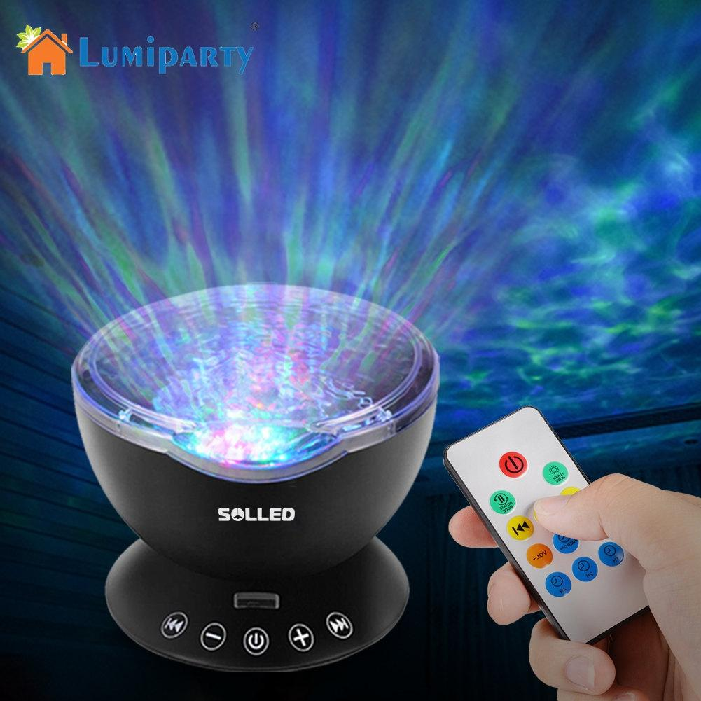 LumiParty Remote Control Ocean Wave Projector 12 LED 7 Colors Night Light with Mini Music Player for Kids Baby Bedroom keyshare dual bulb night vision led light kit for remote control drones