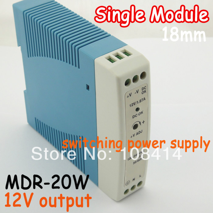 18mm DIN rail Mini 20W switching power supply 12v output DIN RAIL supplies MDR-20, free shipping недорго, оригинальная цена