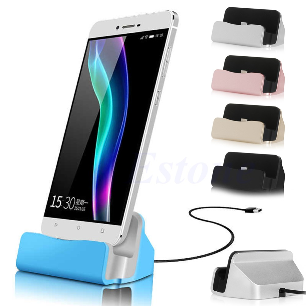 High Quality Sync Data Charging Dock Station Cellphone Desktop Docking Charger & USB Cable For Samsung LG HTC Huawei Xiaomi
