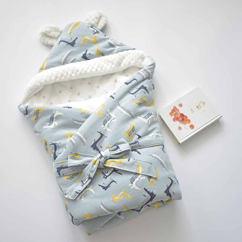 Image 4 - Baby Discharge Envelope for Newborns Cotton Cartoon Blanket For Kids Soft Warm Wrap For Baby Girl Boy Sleeping Bag 80x80cm-in Blanket & Swaddling from Mother & Kids