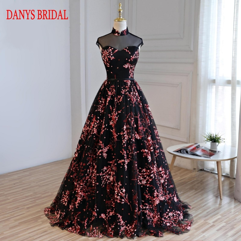 Floral Long Evening Dresses Party Tulle A Line Women Prom Beaded Formal Evening Gowns Dresses Robe De Soiree Longue