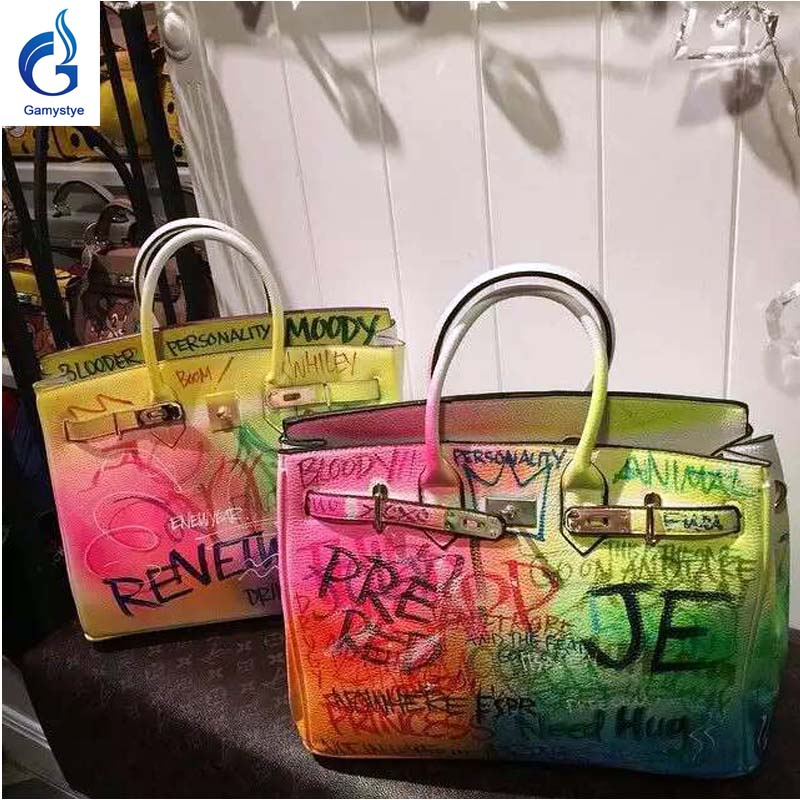 b10796ec1233 2018 hot sale Women Platinum handbags hand-painted custom name colorful graffiti  bags luxury bags women totes Art handbags - aliexpress.com - imall.com