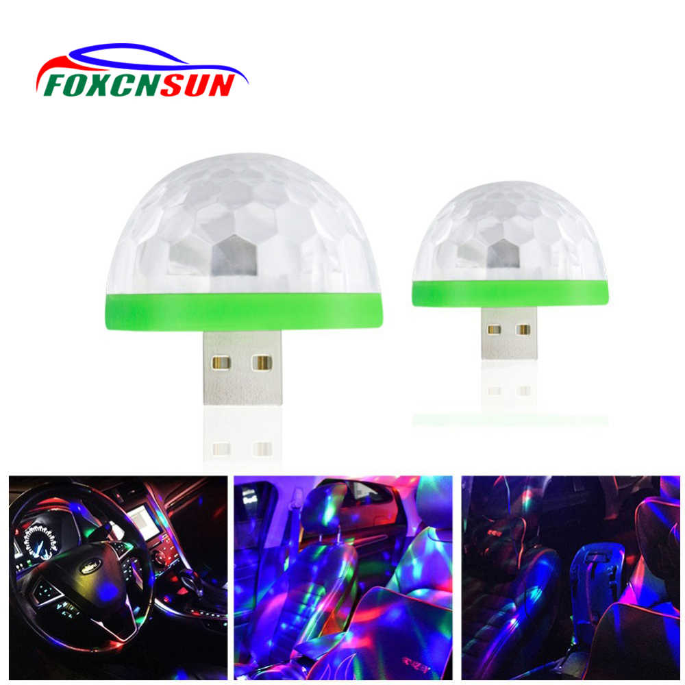 Foxcnsun Car RGB Atmosphere LED Lights Music  Auto Decoration Lamps Bulbs Car Styling Decors DJ Disco Stage Effects USB 5V